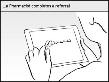 A pharmacist completes a referral on a tablet device