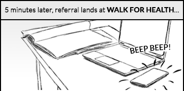 5 minutes later, referral lands at Walk for Health: a notification goes off on a mobile device