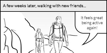 A few weeks later, walking with new friends: the patient feels great to be active again