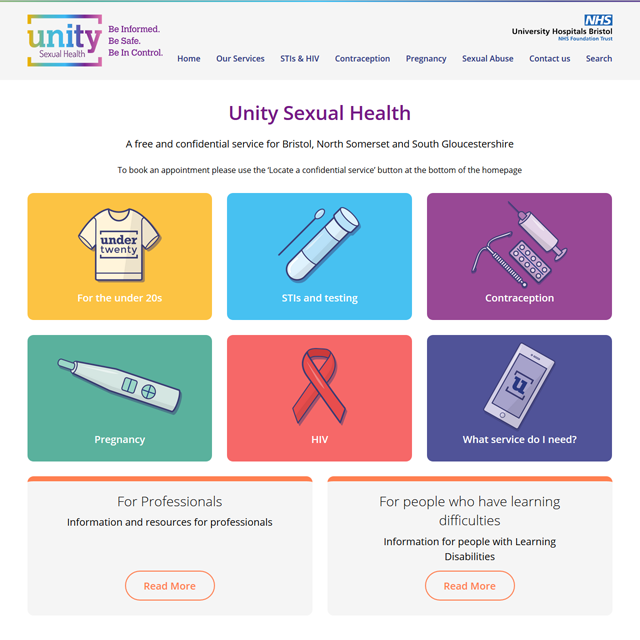 Unity Sexual Health Website and Self-Testing Kit Request System